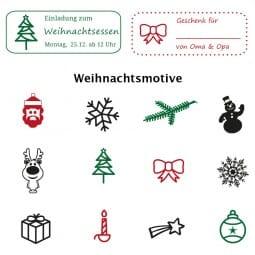 Weihnachten Holzstempel / Selbstfärber Imprint 13 (57x21 mm - 4 Zeilen)