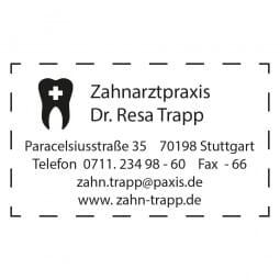Zahnarztstempel Adresse Holzstempel / Selbstfärber (50x30 mm - 6 Zeilen)