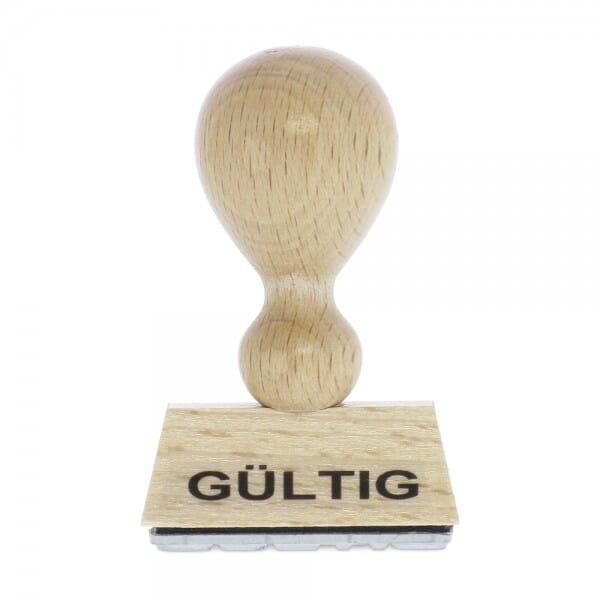 "Holzstempel mit Standardtext ""GÜLTIG"""
