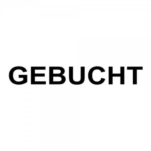 "Holzstempel mit Standardtext ""GEBUCHT"""
