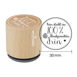 Woodies Stempel - Hier steckt zu 100% Hand (Wolle)