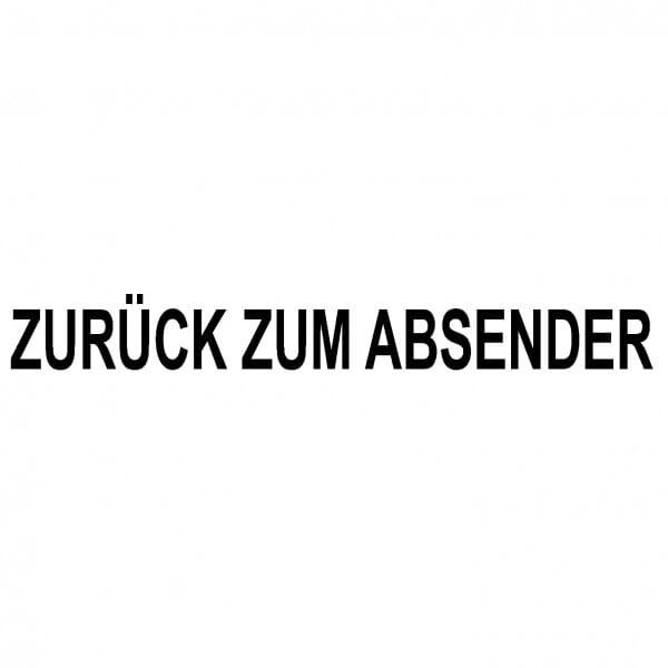 """Holzstempel mit Standardtext """"ZURÜCK ZUM ABSENDER"""""""