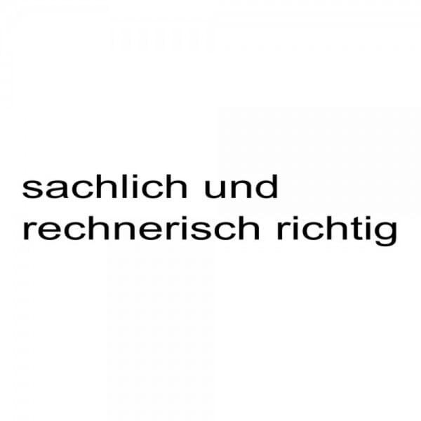 """Holzstempel mit Standardtext """"sachlich und rechnerisch richtig"""""""