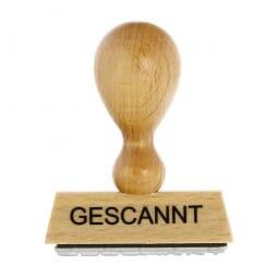 """Holzstempel mit Standardtext """"GESCANNT"""""""