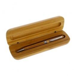 Kugelschreiber mit lasergravierter Bambusbox 14x4,5 cm)