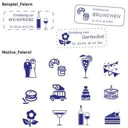 Feierlichkeiten Holzstempel / Selbstfärber (57x21 mm - 6 Zeilen)