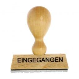 """Holzstempel mit Standardtext """"EINGEGANGEN"""""""